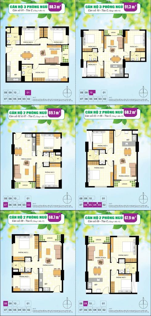 Diện tích các loại căn hộ ParcSpring