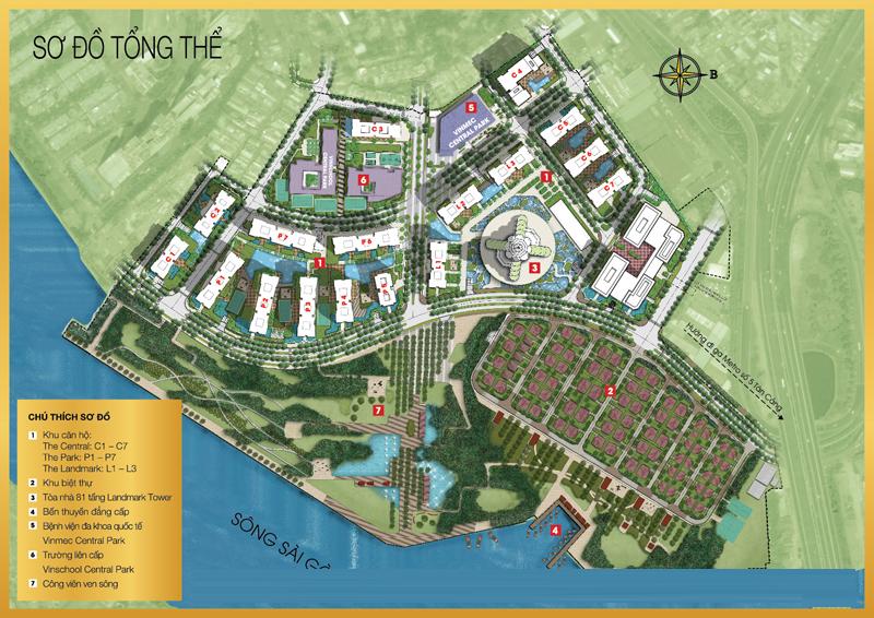 Tổng thể qui hoạch khu đô thị Vinhomes Central Park