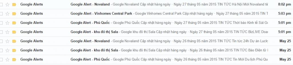 Google Alert báo về Gmail những tin tức liên quan với chủ đề mình đăng kí
