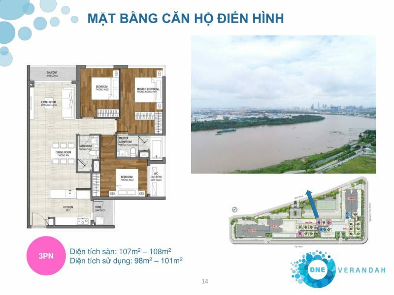can ho one verandah 3 phong ngu