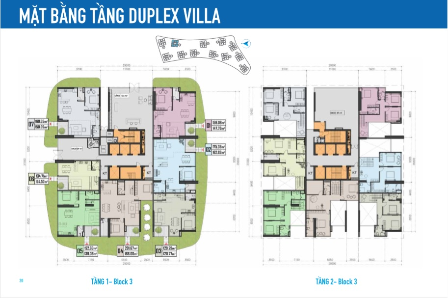 mat bang duplex villa block 3